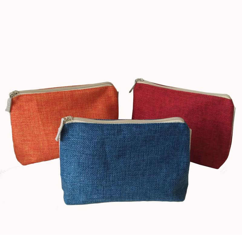Linen Makeup Cosmetic Pouch with Zipper