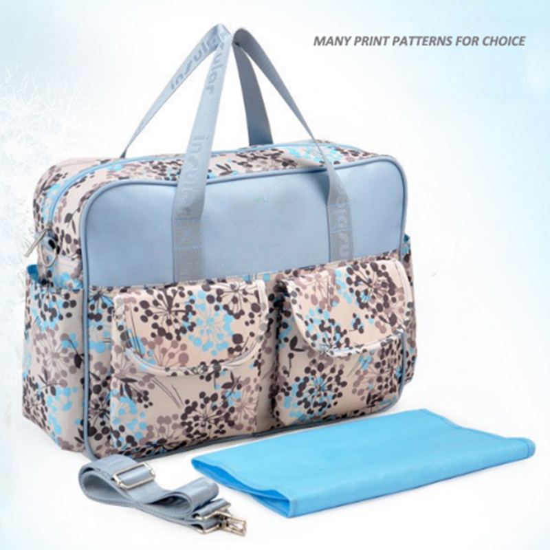 full print microfiber mummy diaper bag
