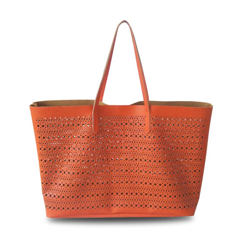 Big compartment perforated pu tote bag