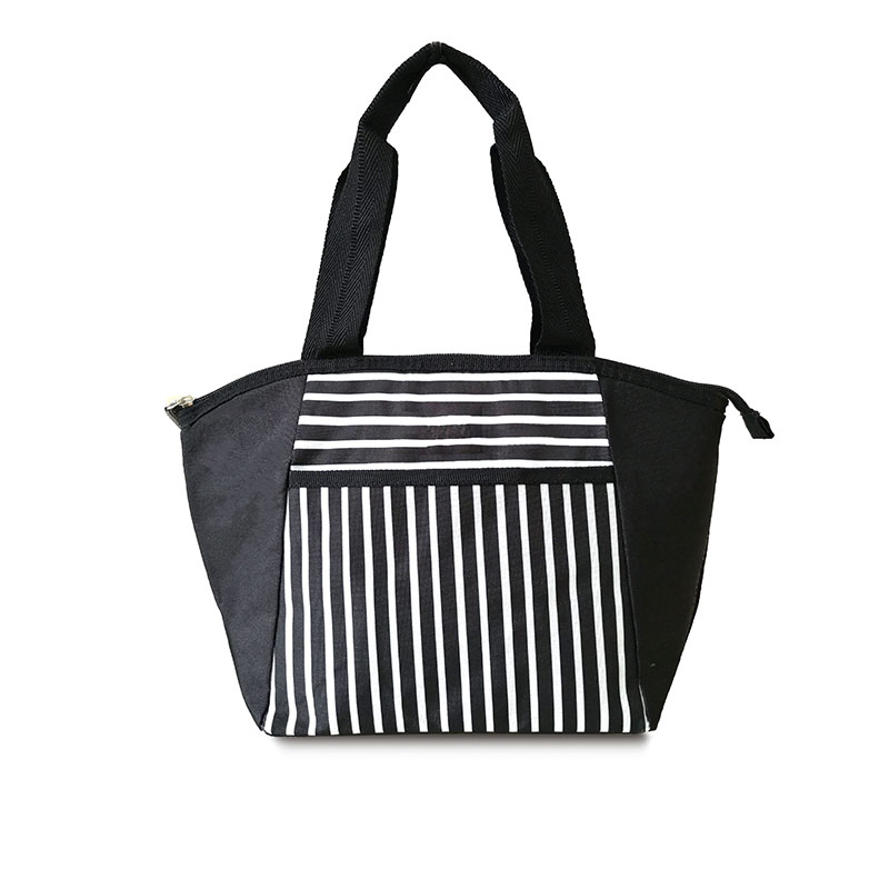 Promotional striped poyester insulated cooler lunch bag