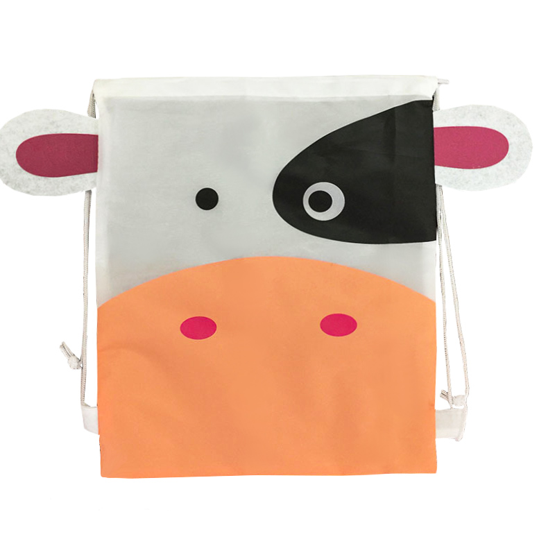 Low budget cute animal printing kids drawstring backpack bag