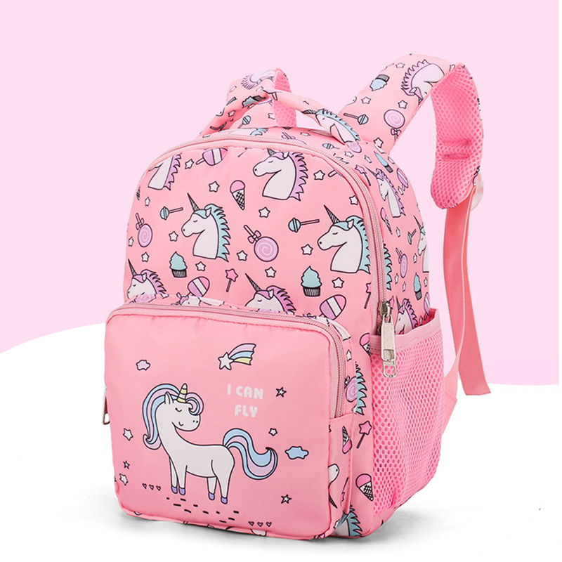 Unicorn Print Kids Backpack, Pink Color