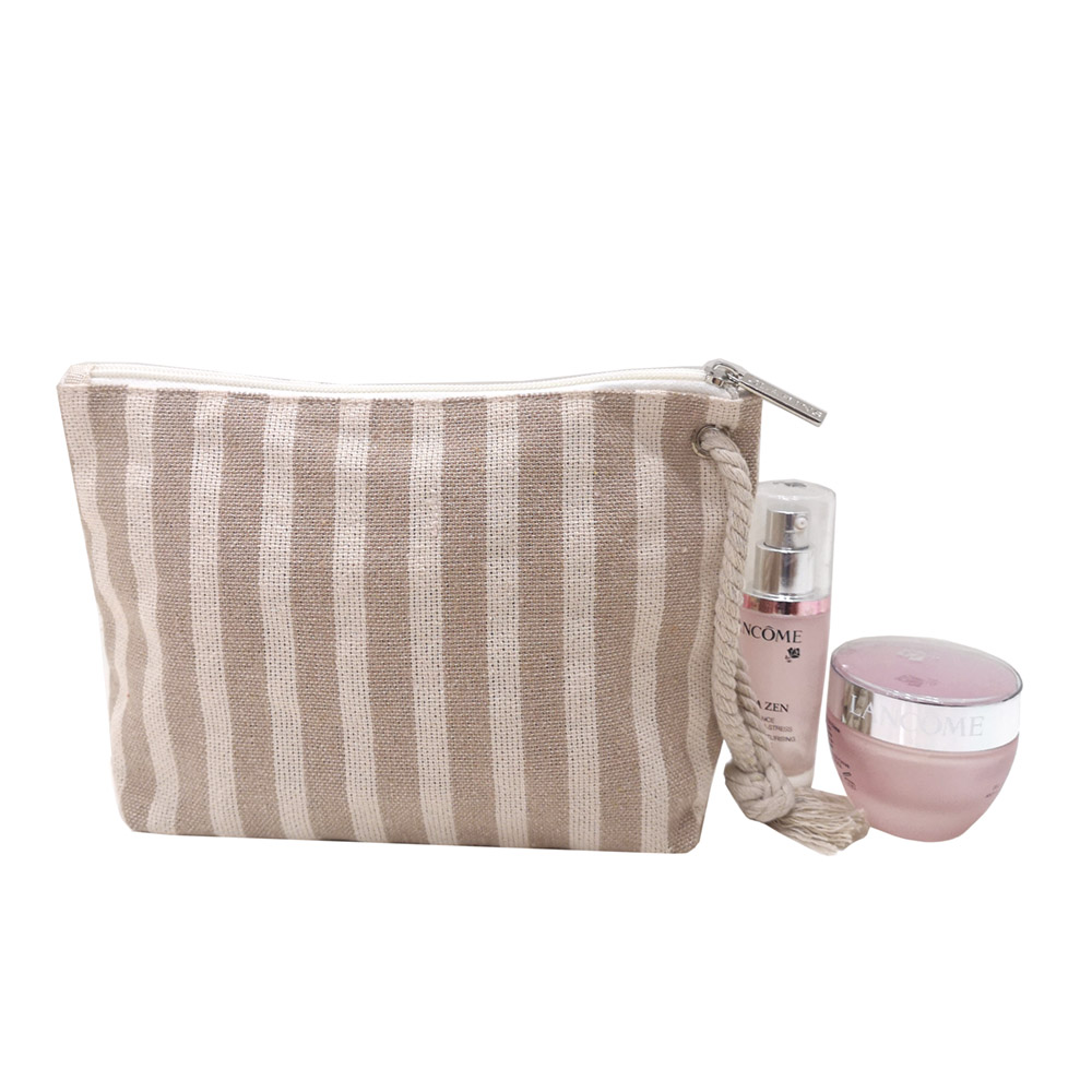 Women cosmetic bag with cotton rope handle