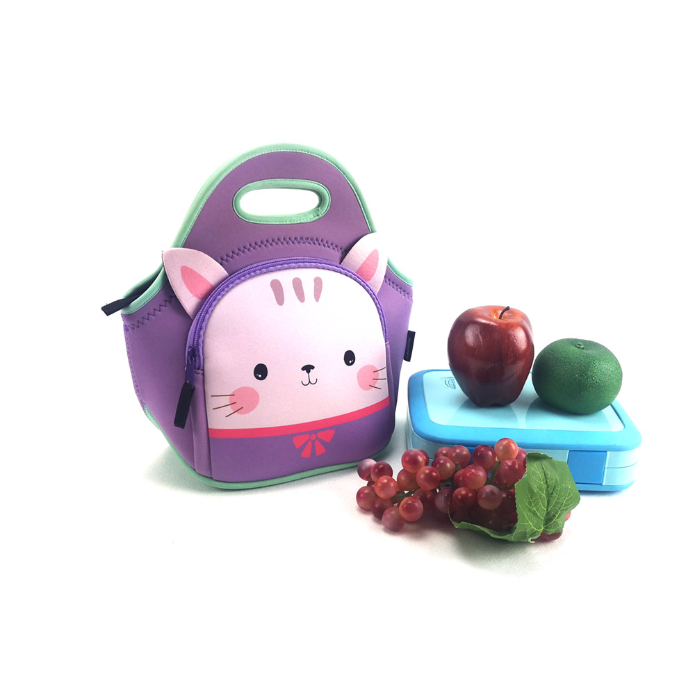 New design 3D animal printing kids neoprene cooler lunch bag